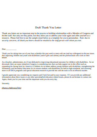 Draft Thank You Letter