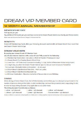 Dream Membership Card