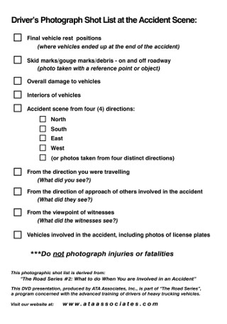 Drivers Photograph Accident Scence Short List