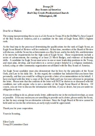 Letter Of Recommendation For Eagle Scout from images.sample.net
