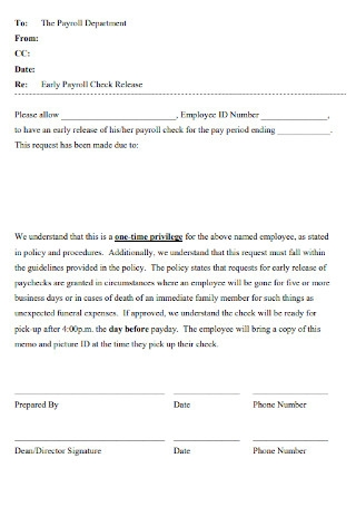 Early Payroll Check Release Template