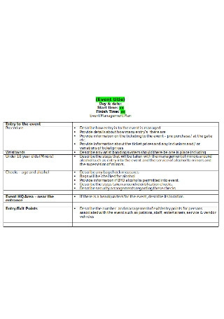 Editable Event Management Plan
