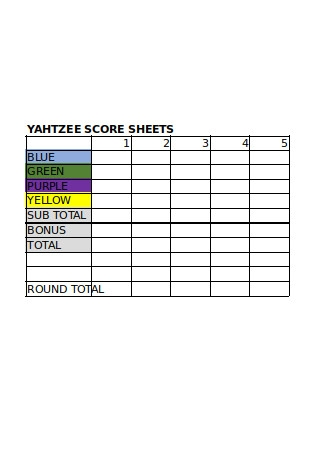 Editable Yahtzee Score Sheets