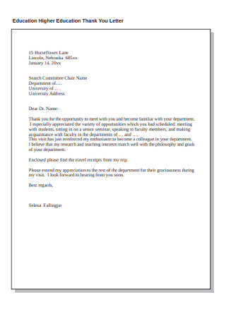 Education Higher Education Thank You Letter