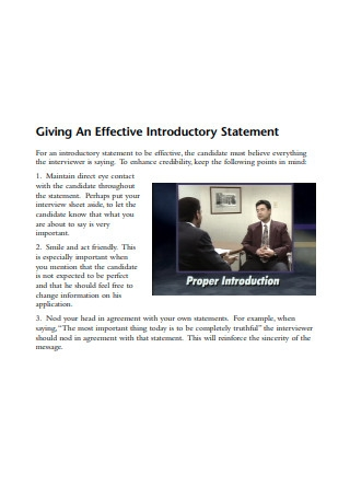 Effective Introductory Statement