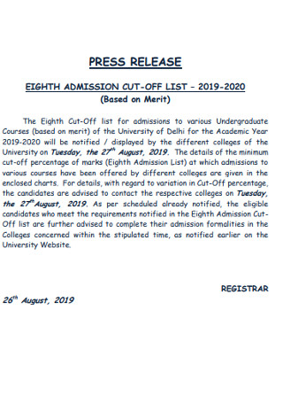 Eighth Admission Cut Off List Press Release