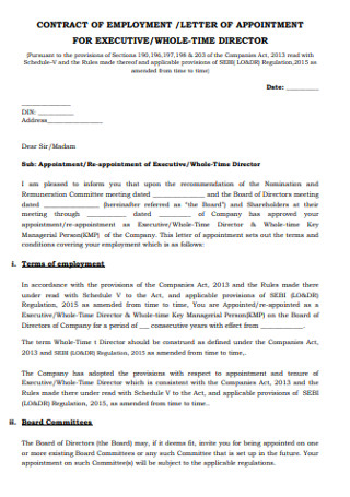 Employement Appointment Letter
