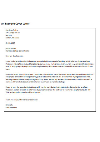 Employement Cover Letter Example