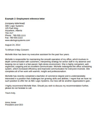 Employement Reference Letter