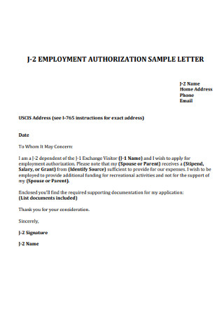 Employment Authorization Offer Letter