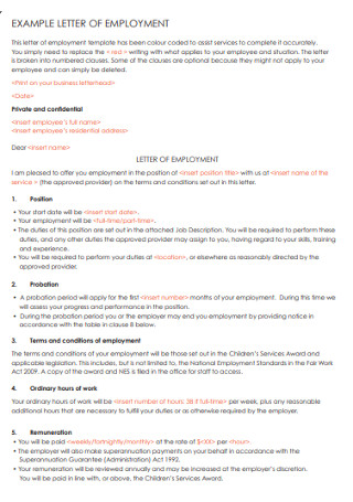 Employment Letter Example