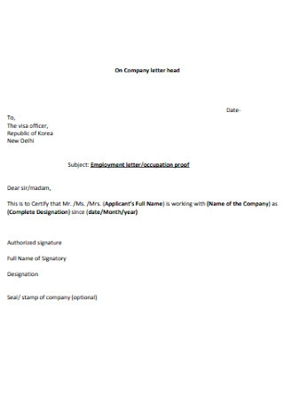 Employment Letter Occupation Proof