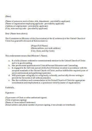 Employment Letter of Endorsement Template