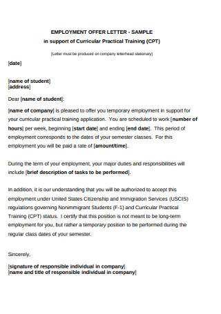 Employment Training Offer Letter