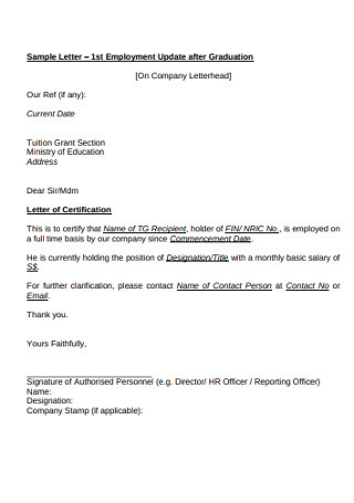 Employment Update after Graduation Letters