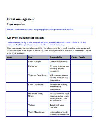 Event Management Action Plan