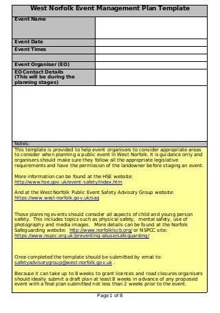 Event Management Plan EMP Checklist