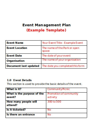 Event Management Plan Example Template