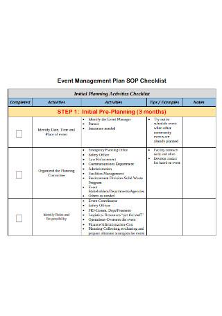 Event Management Plan SOP Checklist