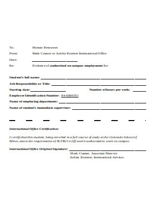 Evidence of Authorized Employment Letter