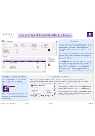 Evolution Payroll Check Calculator At a Glance Template
