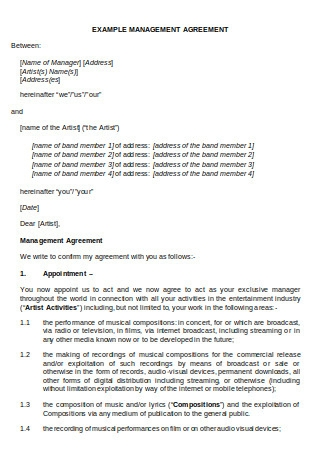 Example Management Agreement