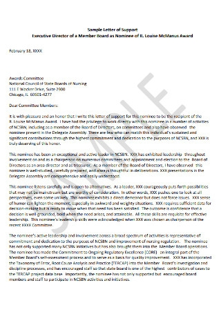 Executive Director Letter of Supoort Template