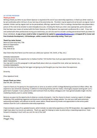 Extern Program Thank You Letter