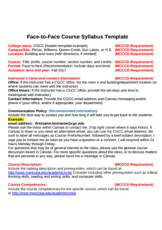 Face to Face Course Syllabus Template