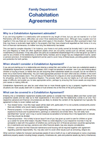 Family Department Cohabitation Agreement