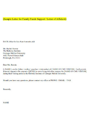 Family Funds Support of Letter