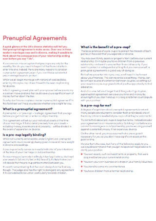 Family Prenuptial Agreements