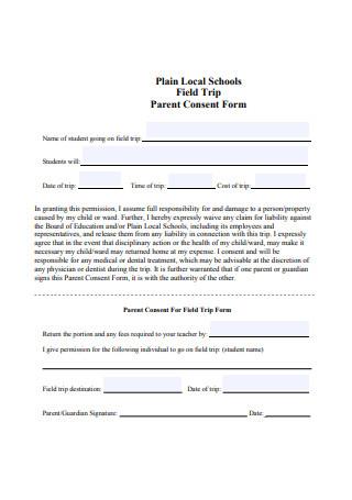 Field Trip Parent Consent Form