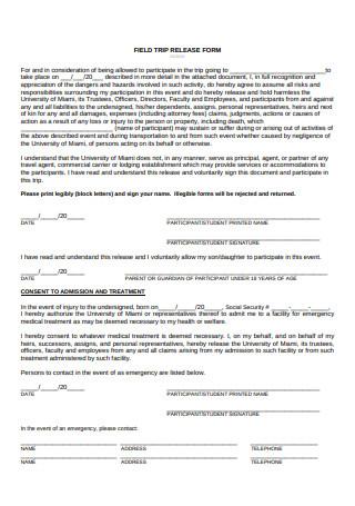Field Trip Release Form