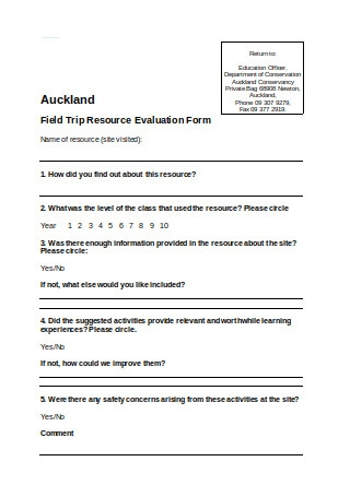 Field Trip Resource Evaluation Form