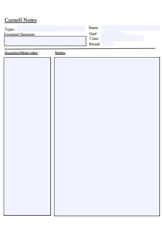 Fillable Cornell Notes