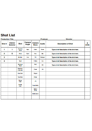 Film Academy Shot List