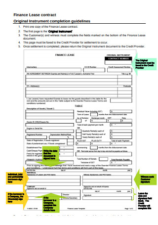 Finance Lease contract