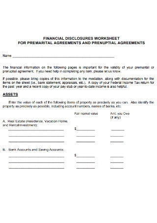 Financial Disclosure for Prenuptial Agreement
