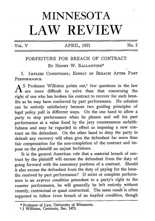 Forfeiture for Breach of Contract