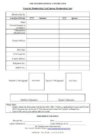 Form for Membership Card