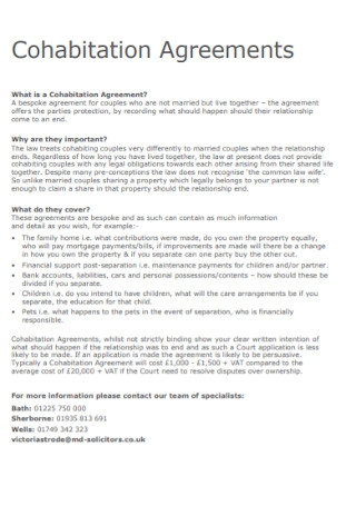 Formal Cohabitation Agreements Templates