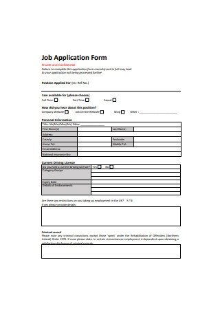Formal Job Application Form Sample