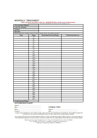 Formal Monthly Timesheet Sample