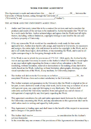 Formal Work for Hire Agreement
