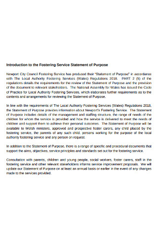 Fostering Service Statement of Purpose
