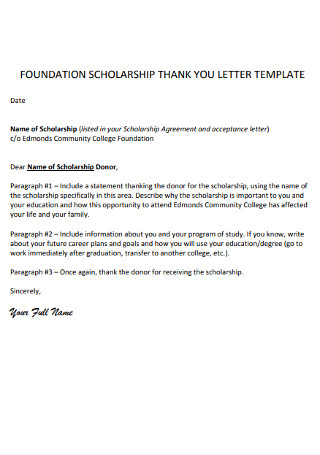 Foundation Scolorship Thank You Letter