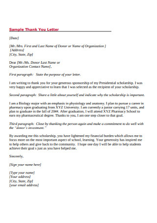 Foundation Thank you Letter