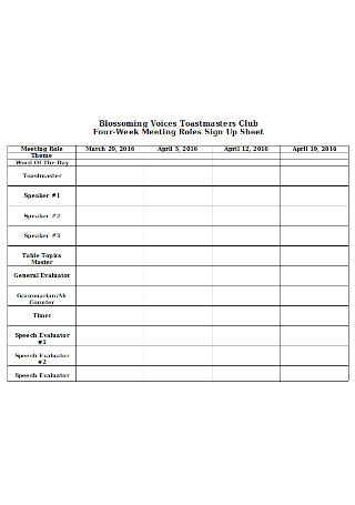Four Week Meeting Roles Sign Up Sheet