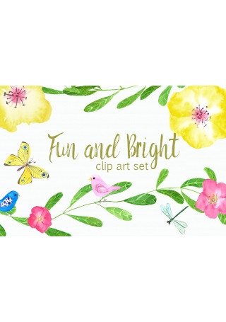Fun and Bright Watercolor Clip Art
